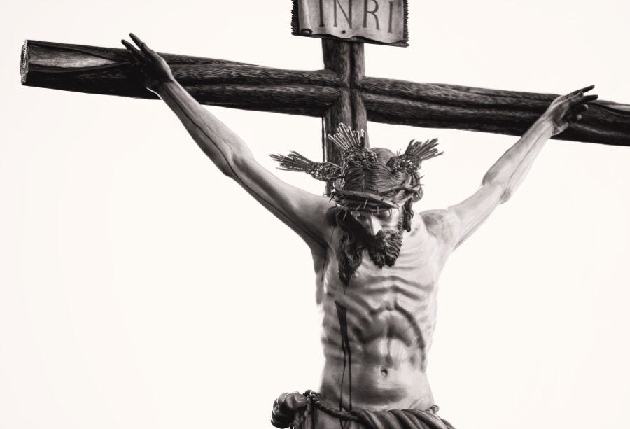 Black And White With White Background Of Jesus Christ Hanging On The Cross