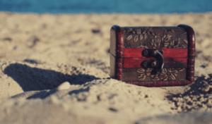 Treasure Chest On The Beach Sand
