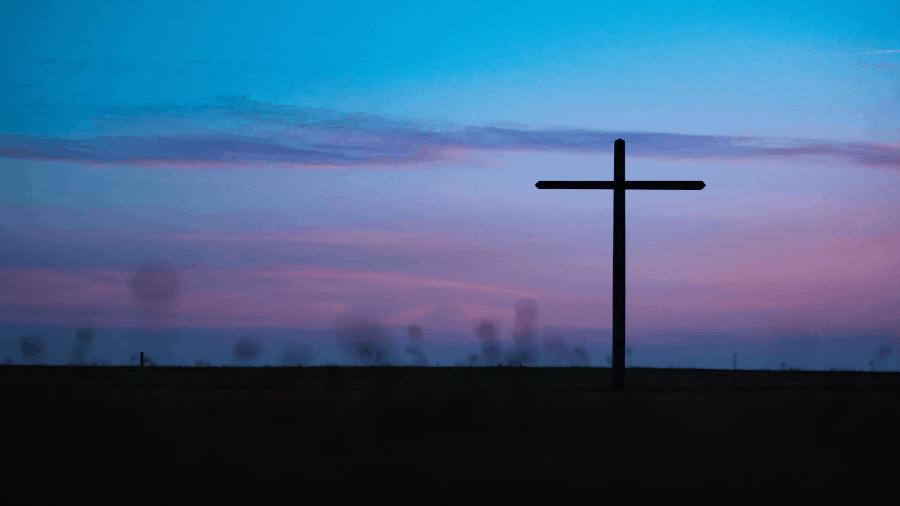Cross In Field Dusk Or Dawn