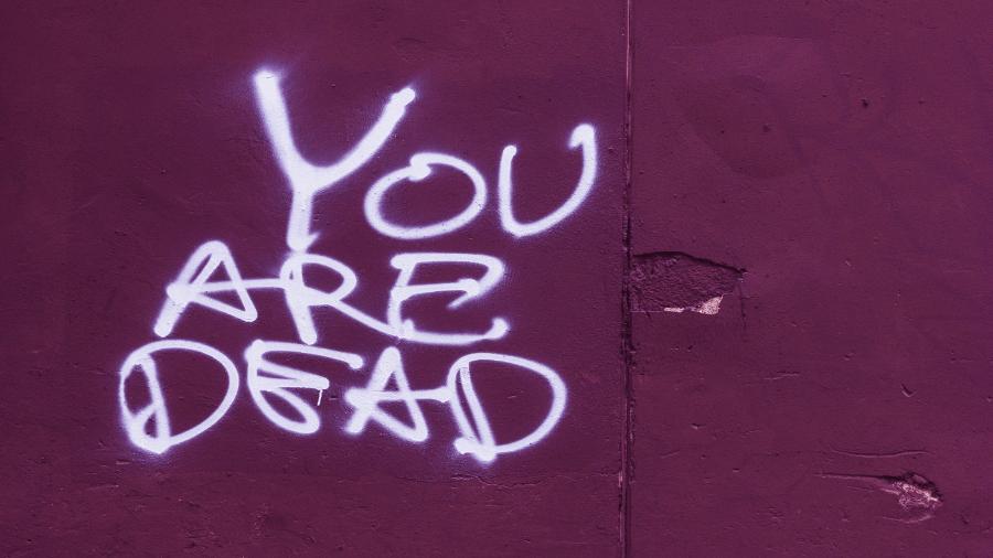 You Are Dead Graffiti On Purple Wall