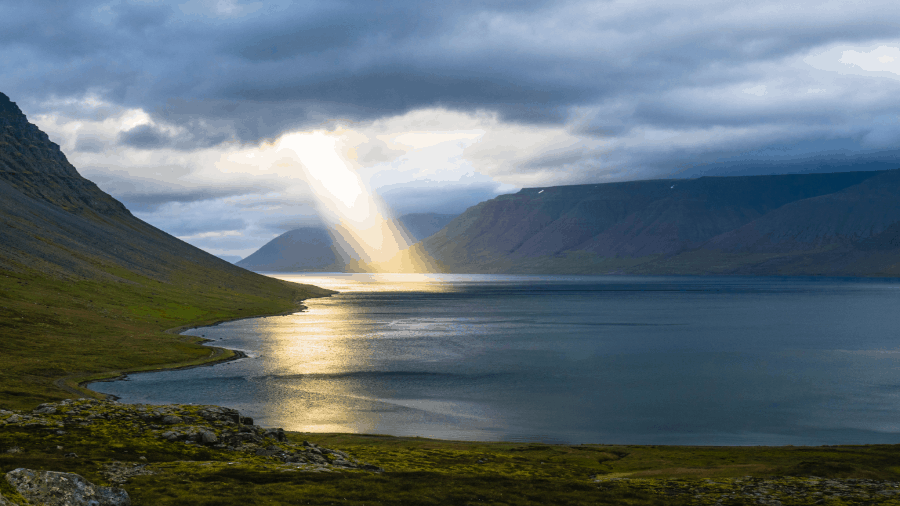 Heaven Open With Light Shining To Lake