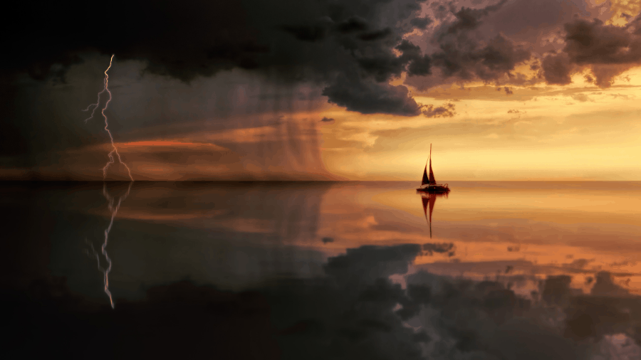 Sea Storm With Small Boat