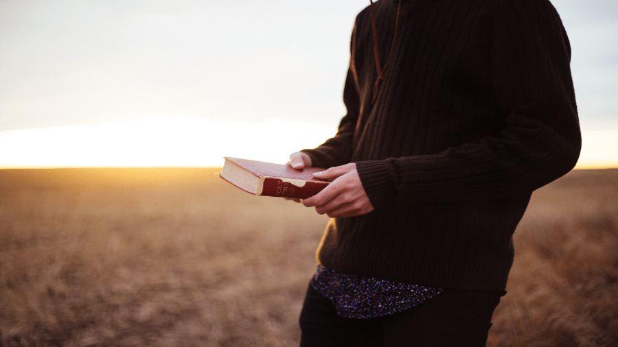 Person Holding Bible In Field 900x506