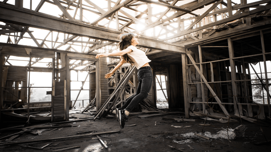 Abandoned House Person Jumping 900x506